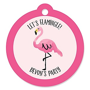 Pink Flamingo - Personalized Tropical Summer Party Tags - 20 ct
