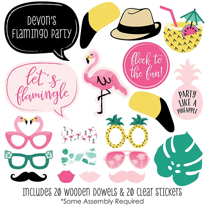 Pink Flamingo - Party Like a Pineapple - 20 Piece Photo Booth Props Kit