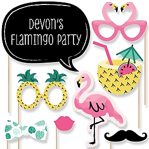 Flamingo - Party Like a Pineapple - Baby Shower Photo Booth Props Kit - 20 Props