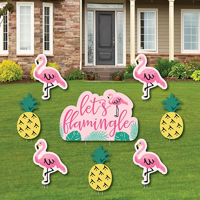 Pink Flamingo - Party Like a Pineapple - Yard Sign & Outdoor Lawn Decorations - Tropical Summer Yard Signs - Set of 8