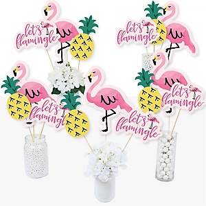 Pink Flamingo - Baby Shower or Birthday Party Like a Pineapple - Party Centerpiece Sticks - Table Toppers - Set of 15