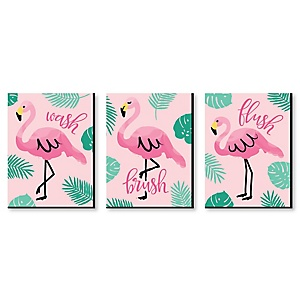 "Pink Flamingo - Kids Bathroom Rules Wall Art - 7.5"" x 10"" - Set of 3 Signs - Wash, Brush, Flush"