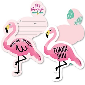 Pink Flamingo - Party Like a Pineapple - 20 Shaped Fill-In Invitations and 20 Shaped Thank You Cards Kit - Tropical Summer Party Stationery Kit - 40 Pack