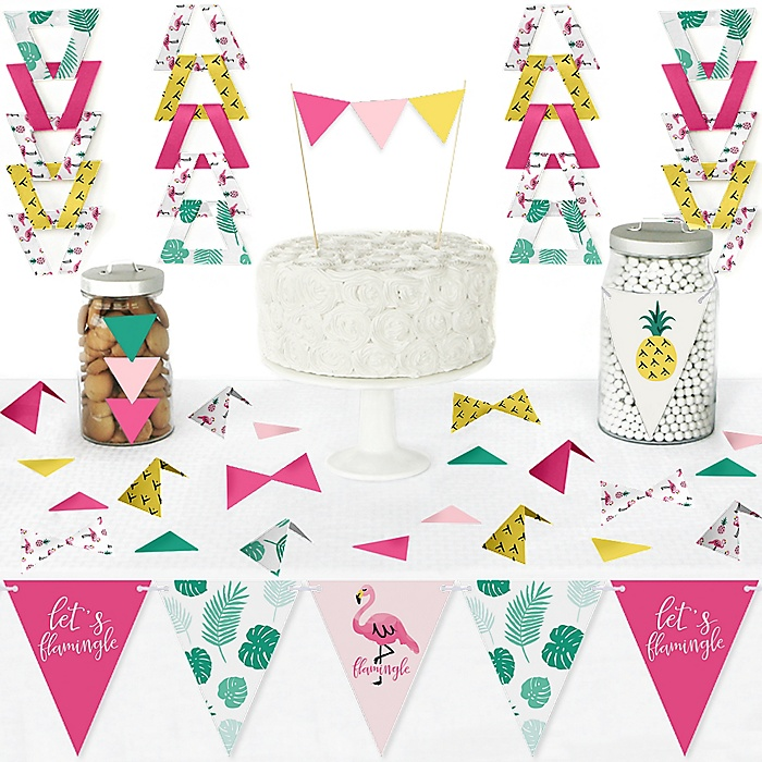 Pink Flamingo - Party Like a Pineapple - DIY Pennant Banner Decorations - Tropical Summer Party Triangle Kit - 99 Pieces