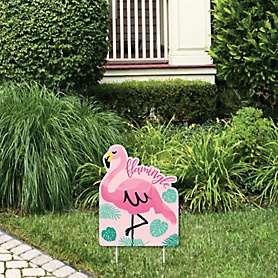 Pink Flamingo - Outdoor Lawn Sign - Tropical Summer Party Yard Sign - 1 Piece