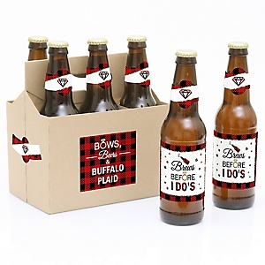 Flannel Fling Before The Ring - Buffalo Plaid Bachelorette Party & Bridal Shower - Decorations for Women and Men - 6 Beer Bottle Label Stickers and 1 Carrier