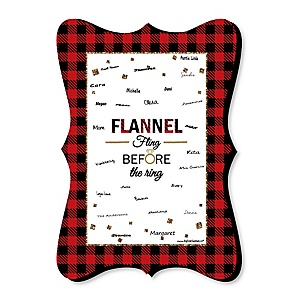 Flannel Fling Before The Ring - Unique Alternative Guest Book - Buffalo Plaid Bachelorette Party Signature Mat