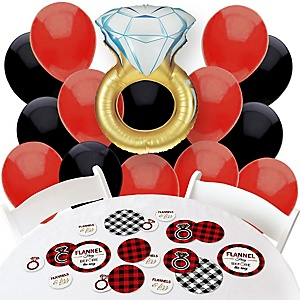 Flannel Fling Before The Ring - Confetti and Balloon Bridal Shower Decorations - Combo Kit