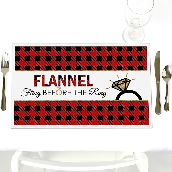 Flannel Fling Before The Ring - Party Table Decorations - Buffalo Plaid Bachelorette Party Placemats - Set of 12