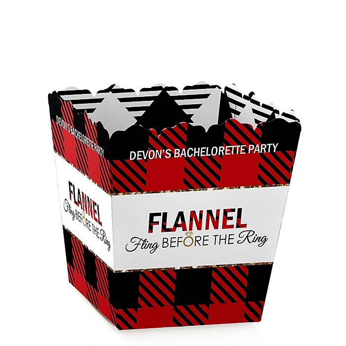 Flannel Fling Before The Ring - Party Mini Favor Boxes - Personalized Buffalo Plaid Bachelorette Party & Bridal Shower Treat Candy Boxes - Set of 12