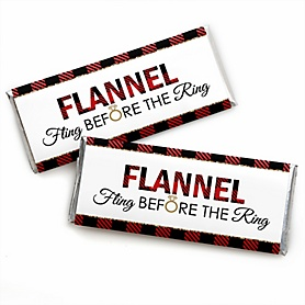 Flannel Fling Before The Ring -  Candy Bar Wrapper Buffalo Plaid Bachelorette Party & Bridal Shower Favors - Set of 24
