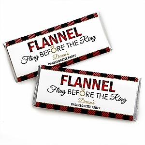 Flannel Fling Before The Ring - Personalized Candy Bar Wrapper Buffalo Plaid Bachelorette Party & Bridal Shower Favors - Set of 24