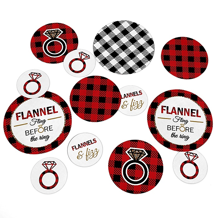 Flannel Fling Before The Ring - Buffalo Plaid Bachelorette Party Giant Circle Confetti - Bridal Shower Decorations - Large Confetti 27 Count