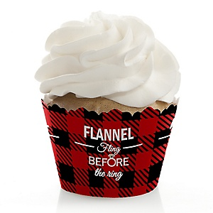 Flannel Fling Before The Ring - Buffalo Plaid Bachelorette Party & Bridal Shower Decorations - Party Cupcake Wrappers - Set of 12