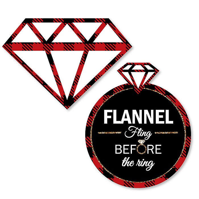 Flannel Fling Before The Ring - DIY Shaped Buffalo Plaid Bachelorette Party & Bridal Shower Paper Cut-Outs - 24 ct