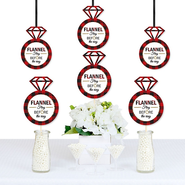 Flannel Fling Before The Ring - Buffalo Plaid Bachelorette & Bridal Shower Decorations - DIY Party Essentials - Set of 20