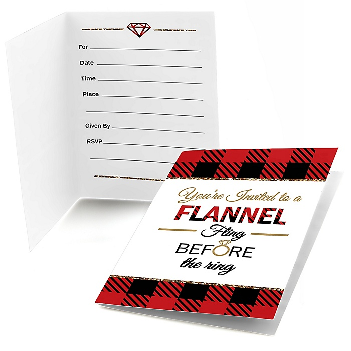 Flannel Fling Before The Ring - Buffalo Plaid Bachelorette Party & Bridal Shower Fill In Invitations - 8 ct