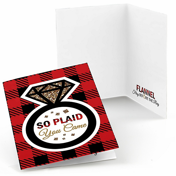 Flannel Fling Before The Ring - Buffalo Plaid Bachelorette Party & Bridal Shower Thank You Cards - 8 ct