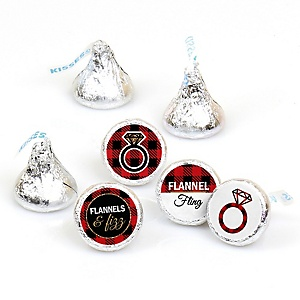 Flannel Fling Before The Ring - Round Candy Labels Buffalo Plaid Bachelorette Party & Bridal Shower Favors - Fits Hershey's Kisses - 108 ct