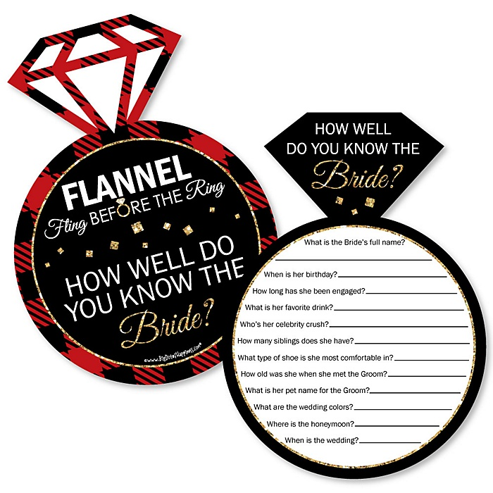 Flannel Fling Before The Ring - Bridal Shower or Bachelorette Party Game - How Well Do You Know The Bride Game - Set of 20