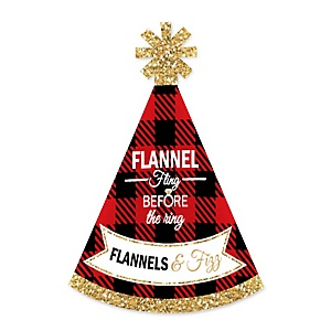 Flannel Fling Before The Ring - Personalized Mini Cone Buffalo Plaid Bachelorette Party Hats - Small Little Party Hats - Set of 10