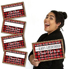 Flannel Fling Before The Ring - Buffalo Plaid Bachelorette & Bridal Shower Party Mug Shots - 20 Piece Photo Booth Props Kit