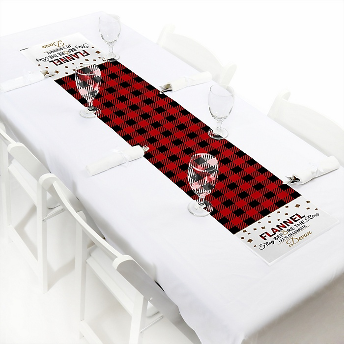 Flannel Fling Before The Ring - Personalized Buffalo Plaid Bachelorette Party & Bridal Shower Table Runner