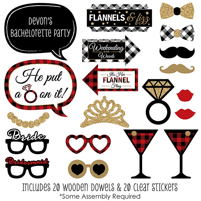 Flannel Fling Before The Ring - Buffalo Plaid Bachelorette Party Photo Booth Props Kit - 20 Count