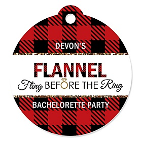 Flannel Fling Before The Ring - Personalized Buffalo Plaid Bachelorette Party & Bridal Shower Tags - 20 ct