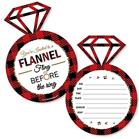 Flannel Fling Before The Ring - Shaped Fill-In Invitations - Buffalo Plaid Bachelorette Party Invitation Cards with Envelopes - Set of 12