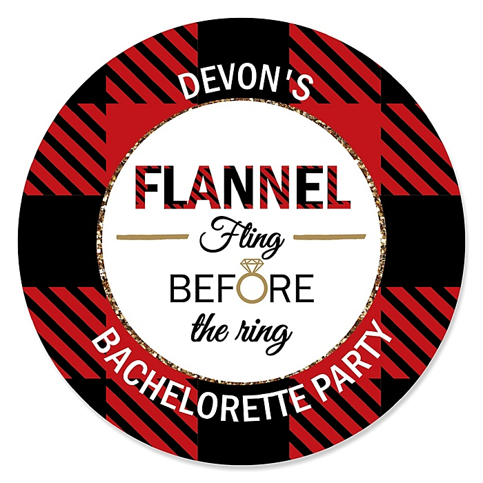 Flannel Fling Before The Ring - Personalized Buffalo Plaid Bachelorette Party & Bridal Shower Sticker Labels - 24 ct