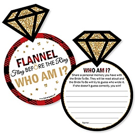 Flannel Fling Before The Ring - Bridal Shower or Bachelorette Party Game - Who Am I Game Cards - Set of 20