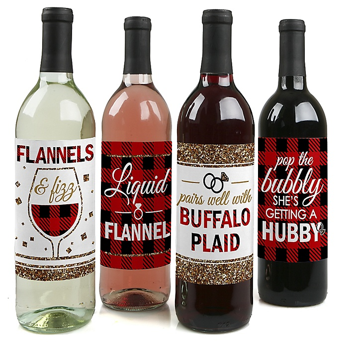 Flannel Fling Before The Ring - Buffalo Plaid Bachelorette Party & Bridal Shower Decorations for Women and Men - Wine Bottle Label Stickers - Set of 4