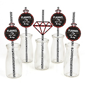 Flannel Fling Before The Ring - Paper Straw Decor - Buffalo Plaid Bachelorette Party & Bridal Shower Striped Decorative Straws - Set of 24
