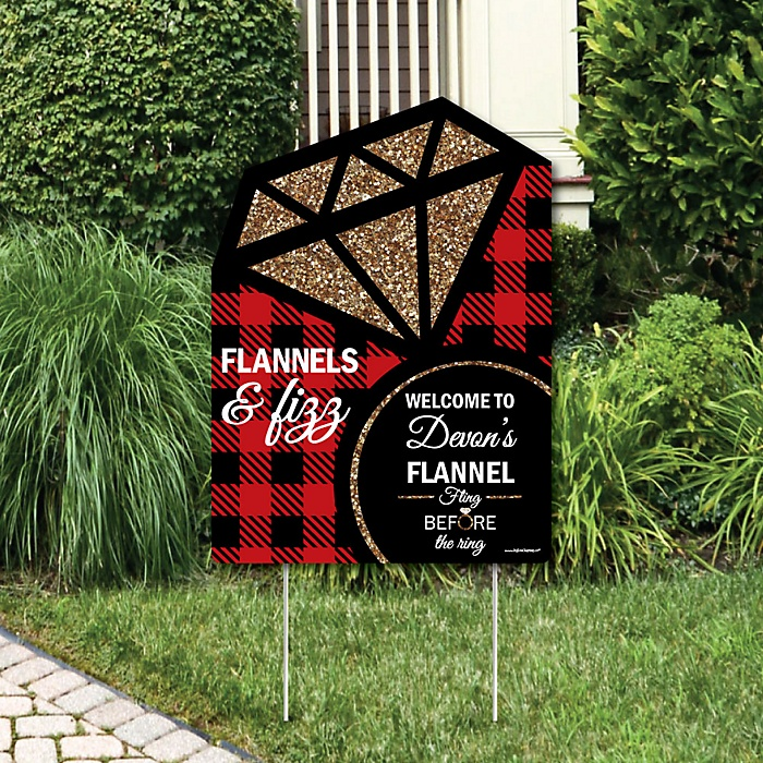 Flannel Fling Before The Ring - Party Decorations - Buffalo Plaid Bachelorette Party Welcome Yard Sign