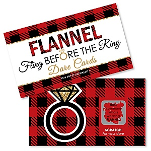 Flannel Fling Before The Ring - Buffalo Plaid Bachelorette Party & Bridal Shower Game Scratch Off Dare Cards - 22 ct