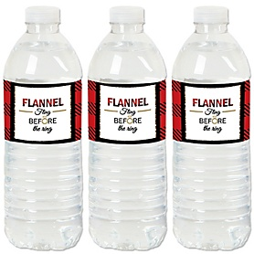Flannel Fling Before The Ring - Buffalo Plaid Bachelorette Party & Bridal Shower Water Bottle Sticker Labels - Set of 20