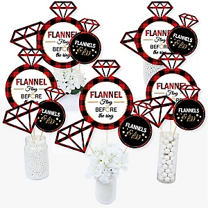 Flannel Fling Before The Ring - Buffalo Plaid Bachelorette Party Centerpiece Sticks - Table Toppers - Set of 15