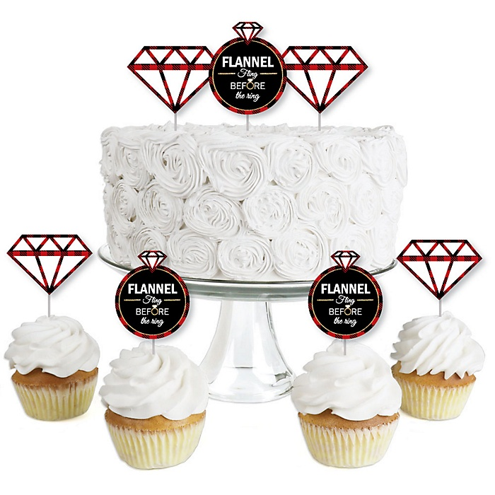 Flannel Fling Before The Ring - Dessert Cupcake Toppers - Buffalo Plaid Bachelorette Party Clear Treat Picks - Set of 24