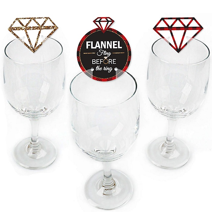 Flannel Fling Before The Ring - Shaped Buffalo Plaid Bachelorette Party Wine Glass Markers - Set of 24