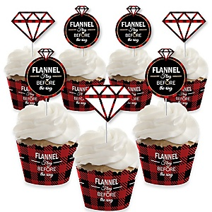 Flannel Fling Before The Ring - Cupcake Decoration - Buffalo Plaid Bachelorette Party Cupcake Wrappers and Treat Picks Kit - Set of 24