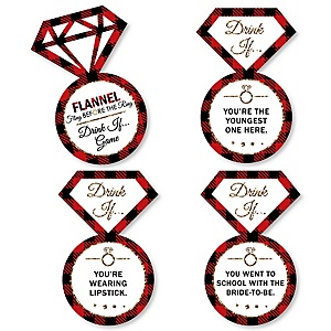 Drink If... Bachelorette Party & Bridal Shower Game for a Flannel Fling Before The Ring - Set of 24