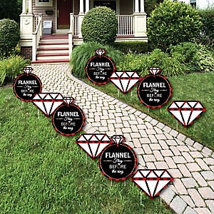 Flannel Fling Before The Ring - Ring Lawn Decorations - Outdoor Buffalo Plaid Bachelorette Party Yard Decorations - 10 Piece