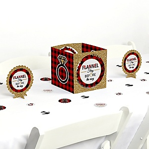 Flannel Fling Before The Ring - Buffalo Plaid Bachelorette Party Centerpiece and Table Decoration Kit