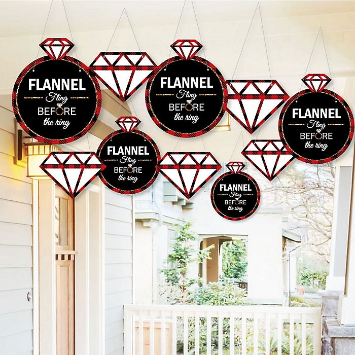 Hanging Flannel Fling Before The Ring - Outdoor Buffalo Plaid Bachelorette Party Hanging Porch & Tree Yard Decorations - 10 Pieces