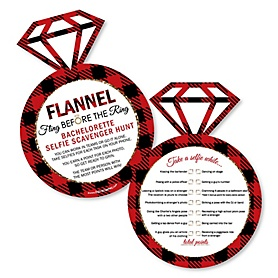 Selfie Scavenger Hunt - Flannel Fling Before The Ring Bachelorette Party & Bridal Shower Game - Set of 12