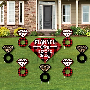 Flannel Fling Before The Ring - Yard Sign & Outdoor Lawn Decorations - Buffalo Plaid Bachelorette Party Yard Signs - Set of 8
