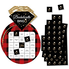 Flannel Fling Before The Ring - Bar Bingo Cards and Markers - Buffalo Plaid Bachelorette Party Shaped Bingo Game - Set of 18