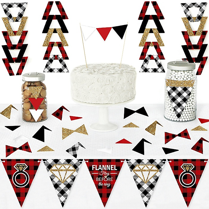Flannel Fling Before The Ring - DIY  Pennant Banner Decorations - Buffalo Plaid Bachelorette Party Triangle Kit - 99 Pieces