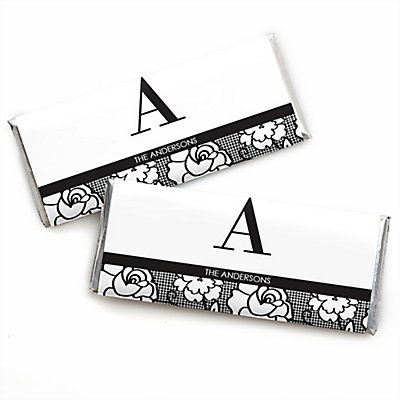 Floral Monogram Personalized Candy Bar Wrappers Wedding Favors